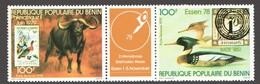 BENIN Philexafrique II 1979 Bande De 2 Timbres Et 1 Vignette  Canard, Buffle, Timbres Sur Timbres  ** - Bénin – Dahomey (1960-...)