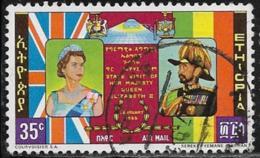Ethiopia Scott # C87 Used Queen Elizabeth Visit, 1965, Light Himge Thin - Ethiopia