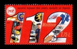 Moldova 2019 Mih. 1077 Call Service 112. Emergency. Firefighters. Automobiles. Medicine. Helicopter MNH ** - Moldawien (Moldau)