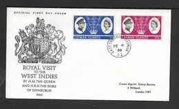 Cayman Islands,  1966 Royal Visit,  First Day Cover, EAST    END GRAND CAYMAN  C.I. FE 4 66, C.d.s. - Cayman Islands