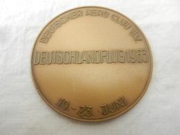 Médaille De Table En Bronze Deutscher Aéro Club E.V.deutschlandflug 1963 - 19/23 Juin - Allemagne