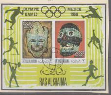 OLYMPICS  - RAS AL KHAIMA -1968- MEXICO OLYMPICS / CULTURE MASKS  S/SHEET ( BL 76A) USED - Ete 1968: Mexico