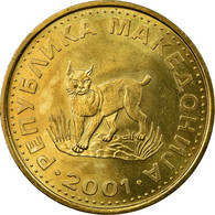 Monnaie, Macédoine, 5 Denari, 2001, TTB, Laiton, KM:4 - Macédoine