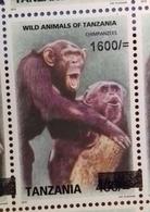 TANZANIA, 2018,MNH, PRIMATES,CHIMPANZEES, 1v,OVERPRINT - Chimpanzés