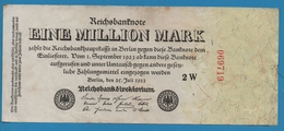 DEUTSCHES REICH 1 Million Mark  25.07.1923 Serial# No 2W 069719 KM# 94 - 1 Million Mark