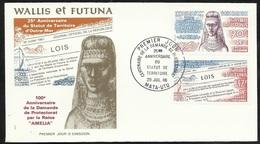 W. Et F.  Lettre Illustrée Premier Jour Mata-Utu Le 29/07/1986  P.A. N° 151 Et 152  Reine Amélia Et Statut De Walli   TB - Covers & Documents