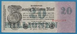 DEUTSCHES REICH 20 Millionen Mark  25.07.1923 Serial# No Z.1621355 KM# 97a - 20 Millionen Mark