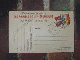 Bureau Ambulant Armee 1 , B  Griffe Marque Lineaire Cachet Franchise Postale Guerre 14.18 - 1. Weltkrieg 1914-1918