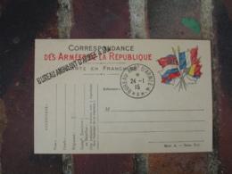 Bureau Ambulant Armee 4 ,A  Griffe Marque Lineaire Cachet Franchise Postale Guerre 14.18 - 1. Weltkrieg 1914-1918