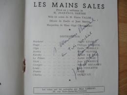 Autographe Signature Jean Paul Sartre Philippe Mareuil  Sur Programme Theatre Les Mains Sales - Autographes