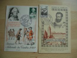 Lot De 2 C M Carte Maximum  1946 Et 1949 Journee Du Timbre - Maximumkarten