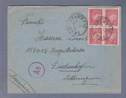 Lettre Aff Pétain Bloc De 4 Du 1f Obl. Chambois 10.02.1942 ->Diedenhofen    -  Censored/Zensur/ Censure E Francfort/M. - Marcophilie (Lettres)