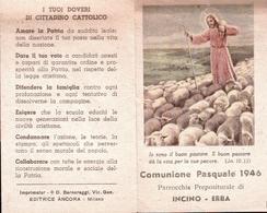 1946 Comunione Pasquale, Vecchio Santino  Pieghevole Con Preghiera E Doveri Di Cittadino Cattolico - Religion & Esotericism