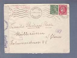 Lettre Aff Cérès 2f + Mercure 50c- Obl. Quimper 04.10.1941 -> Mulhouse  -  Censored/Zensur/ Censure C Cologne - Marcophilie (Lettres)