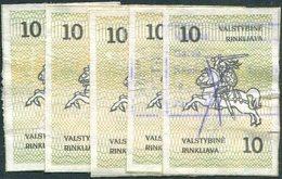Lithuania 1991 Revenue Stamps (5) Fiscal Tax Duty Fee Stempelmarke Gebührenmarke Litauen Lituanie Lituania Lietuva - Lithuania
