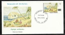 W. Et F. Lettre Illustrée Premier Jour Mata-Utu Le 26/01/1994 P.A. N° 179 Paysage Wallisien D'après Ph. Legris TB - Covers & Documents