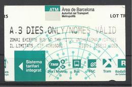 Spain, Barcelona, 3 Days Ticket, 2012. - Europa