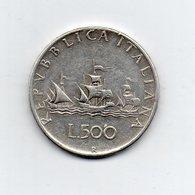 """ITALIA - 1961 - 500 Lire """"Caravelle"""" - Argento 835 - Peso 11 Grammi - (MW2178) - 1946-… : Repubblica"""