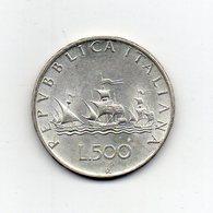 """ITALIA - 1959 - 500 Lire """"Caravelle"""" - Argento 835 - Peso 11 Grammi - (MW2179) - 1946-… : Repubblica"""