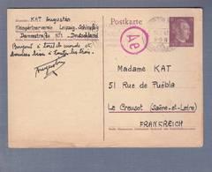 Entier Postal STO - Obl Leipzig 15.07.1943 -> Le Creusot  Zensur-Cachet De Passage Ae - Marcophilie (Lettres)
