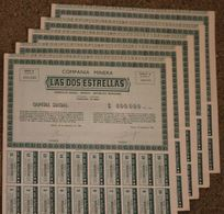 RFRA152 Scripophilie Actions - 5 X COMPANIA MINERA LAS DOS ESTRELLAS 1 PIASTRE MEXICO 1948 (série A) - Mines