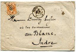 PARIS Env. Au 2 Ième échelon Avec N°16 Oblitéré Du Bureau J + Dateur 1521 Du 28/11/1859 - Postmark Collection (Covers)
