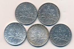 I105-2 - Monnaie 2 Francs Argent - Lot De 5 Pièces - 1914 - 1915 - 3 X 1916 - France