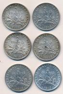 I105-3 - Monnaie 2 Francs Argent - Lot De 6 Pièces - 2 X 1917 - 4 X 1918 - France