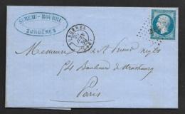 Charente Infre-Lettre De Surgères Pour Paris-1859-PC 2956 Sur N°14A - 1849-1876: Période Classique