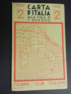 6c) TOURING CLUB CARTA ITALIA N°2 DIMENSIONI APERTA 66 X 36 Cm OTTIME CONDIZIONI - Carte Stradali