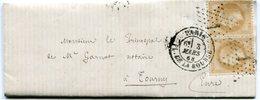 PARIS LAC Du 3/03/1868 Avec N°21 En Paire Oblitérés Etoile 1 PL DE LA BOURSE - Marcophilie (Lettres)