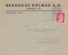 P Lettre à Entête (Bière : Brauhaus Kolmar) Obl Colmar (T328 Kolmar Els 1n) Sur TP Reich 12pf=1°éch Le 12/11/42 - Marcophilie (Lettres)