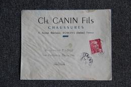 Timbre Sur Lettre Publicitaire - ROMANS , Ch.CANIN Fils, Chaussures. - 1900 – 1949