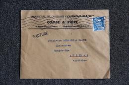 """Timbre Sur Lettre Publicitaire - ROMANS , COMBE Et PAIRE, Chaussures """" L'AGNEAU BLANC """". - Textilos & Vestidos"""