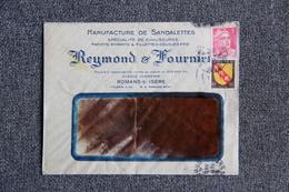 Timbre Sur Lettre Publicitaire - ROMANS, RAYMOND Et FOURNIER, Manufacture De Sandalettes, Chaussures Enfants. - Textilos & Vestidos