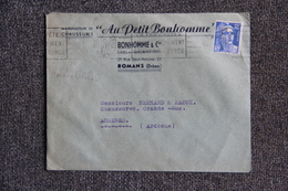 """Timbre Sur Lettre Publicitaire - ROMANS, Manufacture De Chaussures """" AU PETIT BONHOMME """". - Textilos & Vestidos"""