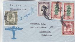 Congo Belge - Lettre Exp Vers Bruxelles - Statues - Coiffes - Palmiers - - 1894-1923 Mols: Lettres