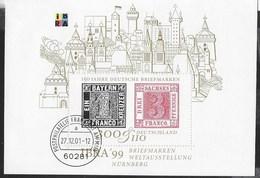 GERMANY - IBRA '99 ESPOSIZIONE  FILATELICA INTERNAZIONALE A NURNBERG -  FOGLIETTO USATO (YVERT BF 45 - MICHEL BL 46) - Esposizioni Filateliche