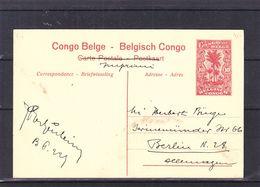 Congo Belge - Carte Postale De 1922 - Entiers Postaux - Imprimé - Exp Vers Berlin - Vue Cratère Immergé Lac Kivu - 1894-1923 Mols: Lettres