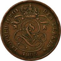 Monnaie, Belgique, Leopold II, 2 Centimes, 1905, TB+, Cuivre, KM:35.1 - 02. 2 Centimes