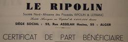 RFRA152 Scripophilie Actions - LE RIPOLIN X3 ALGERIE PART BENEFICIAIRE ALGER 1968 - Industry