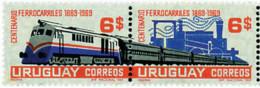 Ref. 6362 * NEW *  - URUGUAY . 1969. CENTENARY OF THE FIRST RAILWAY. CENTENARIO DEL PRIMER FERROCARRIL - Uruguay