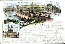 Lithographie Praha Prag, Panorama, Burg, Rathaus - Czech Republic