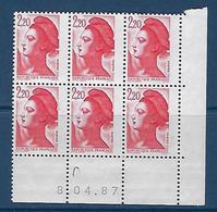 """FR Coins Datés YT 2376 """" Liberté Rouge 2F20 """" Neuf Du 8.04.87 - 1990-1999"""