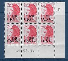 """FR Coins Datés YT 2530 """" Liberté Rouge 2F20 ECU """" Neuf Du 14.04.88 - 1990-1999"""