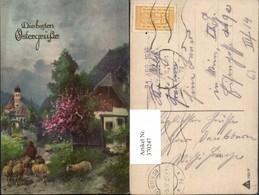 370247,Künstler AK Ostern Landschaft Kirche Hirte Schäfer Schafe - Ostern