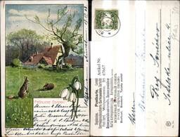 67667,Künstler Ak F. Splitgerber Ostern Haus Landschaft Hasen Ostereier Eier Wiese Sc - Ostern