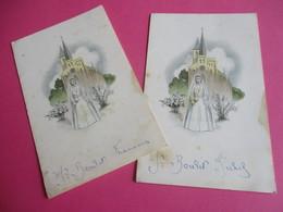 2 Menus De Repas De Première  Communion/Déjeuner/Arlette MARTY/Gournay En Bray/LECHAUGUETTE Cuisinier/1956  MENU257 - Menus