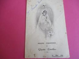 Menu De Repas De Première  Communion/Déjeuner-Diner/Ginette LETELLIER/François Boulet/Forges Les Eaux/1952  MENU259 - Menus