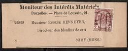 Bande Journal Affranchie Avec Un Timbre Préoblitéré Envoyée De Bruxelles Vers Nimy En 1901 - Precancels